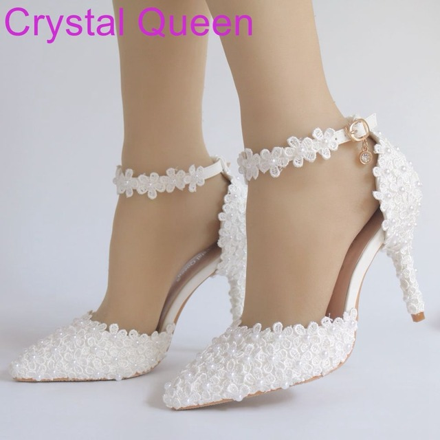 Crystal Queen Women Sandals Thin Heels Pointed Toe Shoes White lace Wedding  Bridals Shoes Plus Size 42 f671fa89cb29
