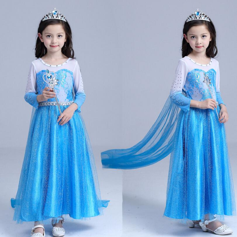 2019 New Elsa Dress Princess Girl Dresses Costumes for Children Fancy Party Anna Dress Role-play Carnival Toddler Girls Clothing