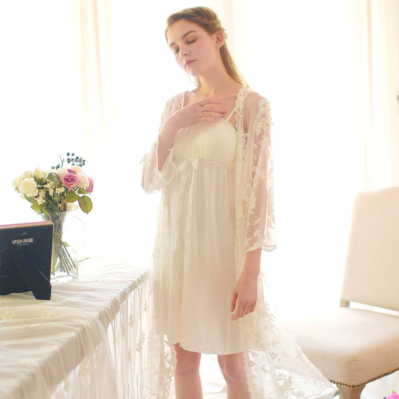 Sexy Babydoll Embroidery Robe & Gown Set Kimono Luxury Lace Negligee Women Autumn Peignoir Sets Spaghetti Strap Cotton Sleepwear