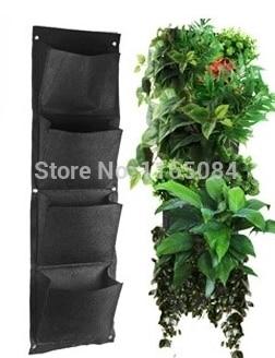 Noutăți 4 buzunare Plăcină de grădină verticală Poliester montat pe perete Grădinărit pentru locuințe Saci pentru plantare de flori