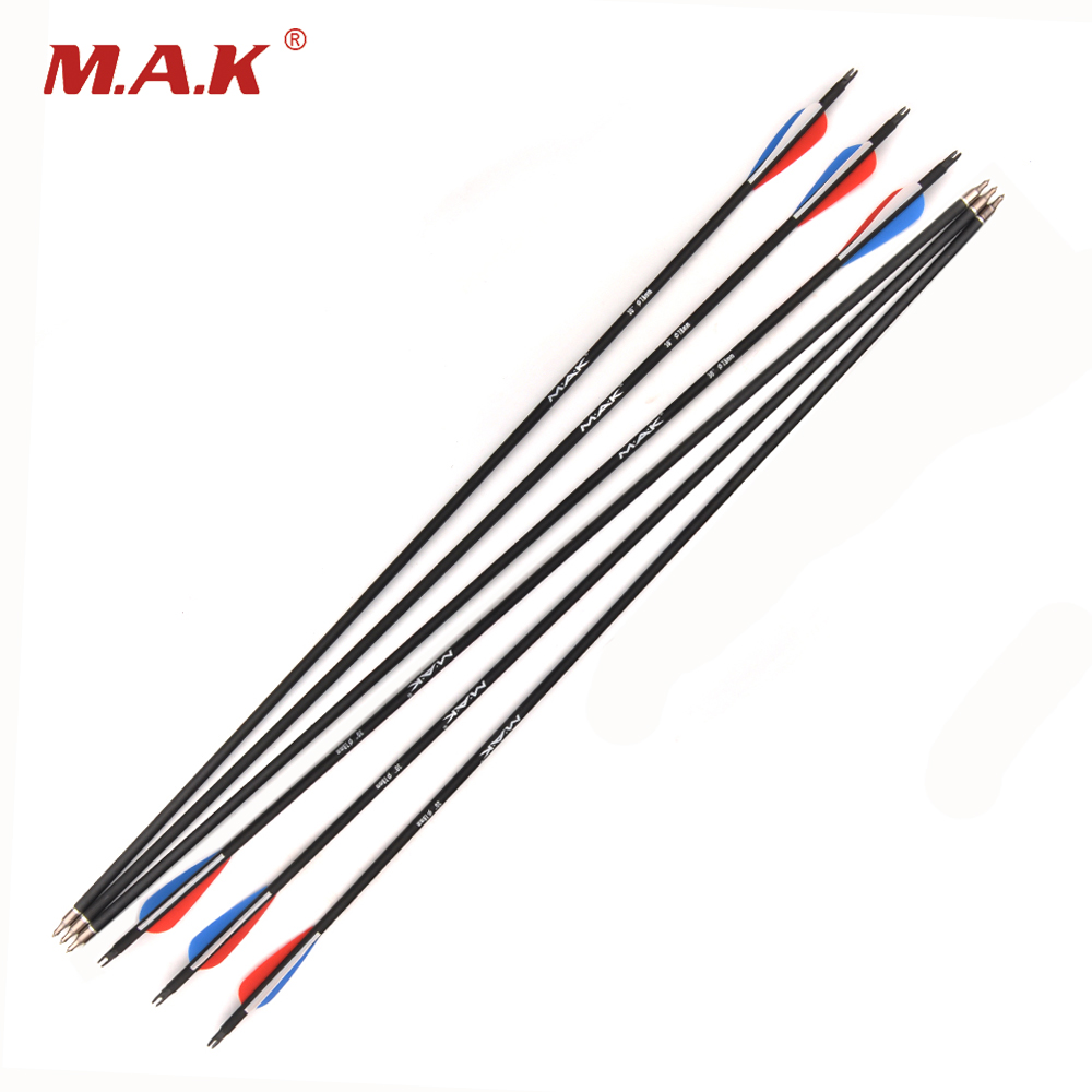 6/12/24pcs Russian Flag Color Carbon Arrow 30 Inch OD 7.8 mm  Spine 500 Arrow for Compound Bow Archery Shooting Hunting Archery suunto arrow 6