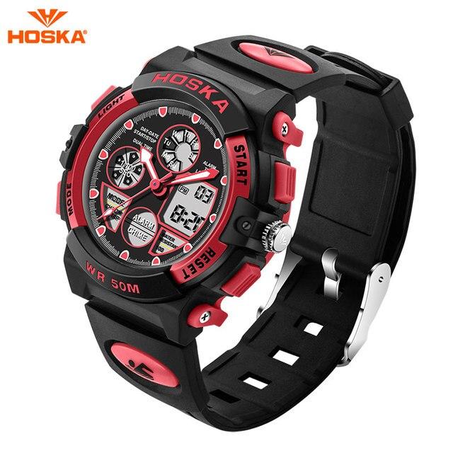 HOSKA Children Sports Watches S SHOCK Military Fashion Casual Quartz Digital Watch Boys Wristwatches Relogio Masculino HD003