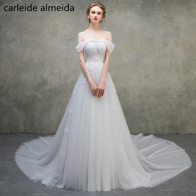 Vestidos de Novia Lace & Tulle Boho Wedding Dress Bead Robe de ...