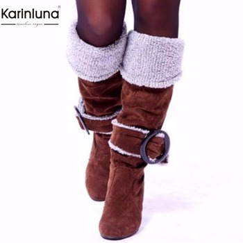 Karinluna 2018 large size 33-43 wholesale high heels winter plush boots Women Shoes Woman boots slip on warm party woman boots