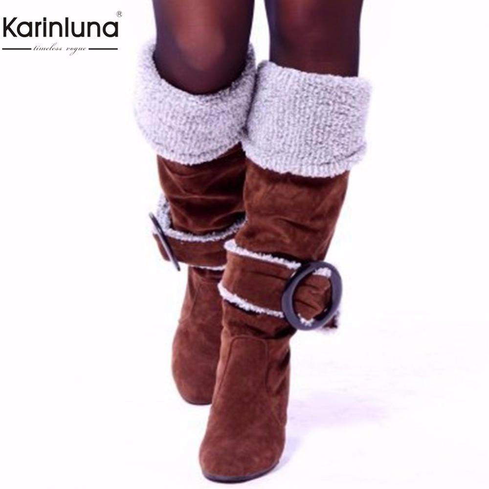 Karinluna 2018 de gran tamaño 33-43 venta al por mayor zapatos de tacón alto de invierno de botas zapatos de mujer botas de mujer resbalón en caliente fiesta mujer botas
