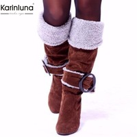 Karinluna 2018 large size 33 43 wholesale high heels winter plush boots Women Shoes Woman boots slip on warm party woman boots