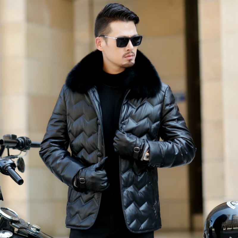 HTB1wsjRXdfvK1RjSszhq6AcGFXaE Jaqueta Couro Sale Men Engine Leather Parka Winter Down Jacket 2018 New Middle-aged Sheep Coats Large Size Outerwear Male No520