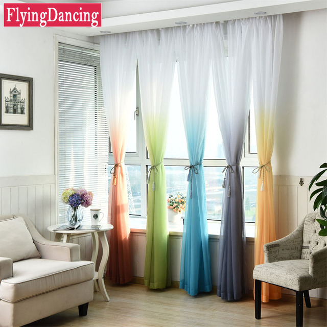 Modern Gradient Curtains Solid Sheer Blue White Tulle Curtain For Kids Bedroom 5 Colors Voile