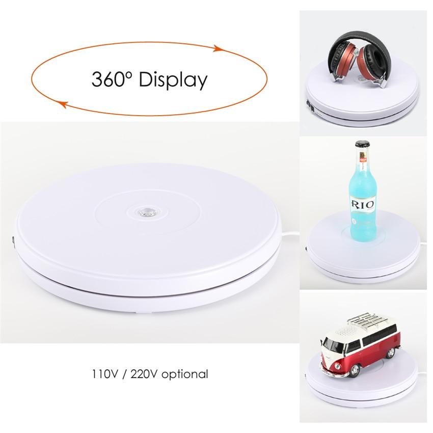 Photo Studio 10 25cm 360 Degree Electric Rotating Turntable Plate w/ Led Light for Photography, Max Load 10kg, 220V / 110V цена