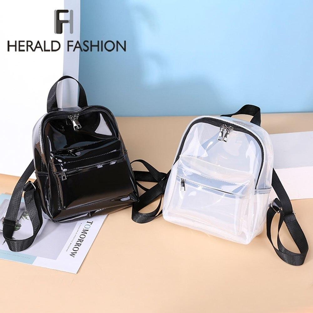 Herald Fashion Women Transparent Backpack Jelly Cute Small School Bag For Teenage Girls Waterproof Summer Clear Beach Travel Bag
