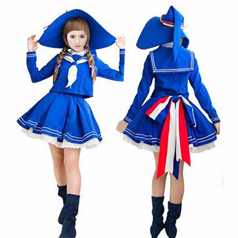 Anime Cosplay Wadanohara et le grand bleu mer Cos Costume manteau + jupe + chapeau + nœud papillon Halloween femme japonaise fille marinière Costume
