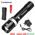 LED FlashLight Cree T6 Flash Light Torch Lamp powerful Lantern Tactical Lanterna Emergency Defensive lampe torche led + Charger