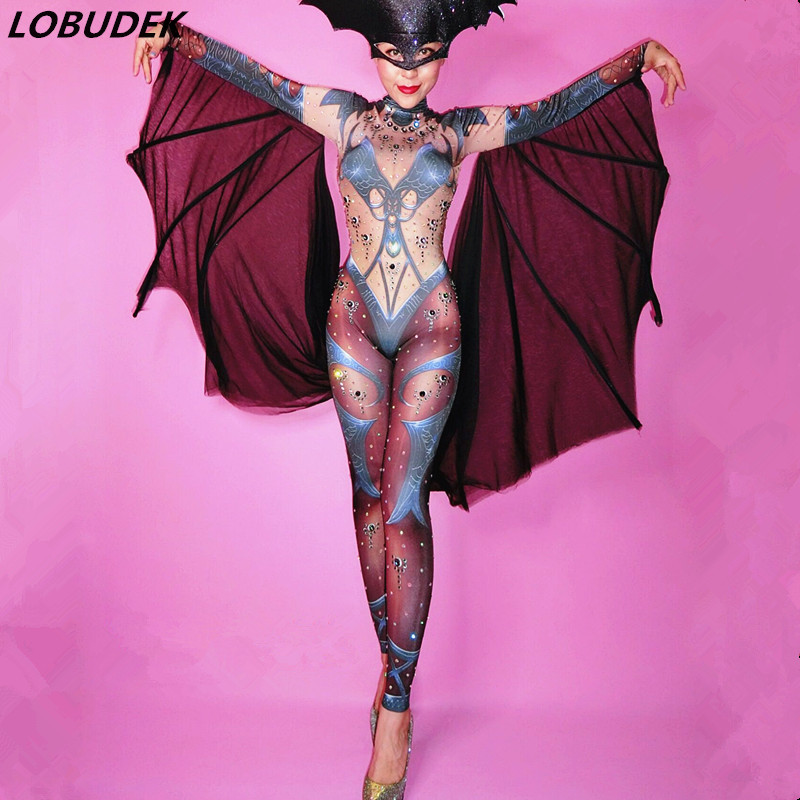 Halloween Lady Nightclub Role Playing Costume Novelty Printed Sparkly Crystal Jumpsuit Stretch Leotard Jumpsuits Cosplay Costume