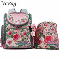 Russian Children School Bags Pink Flower Printed Waterproof Orthopedic Nylon Kids Girls Backpack 3D Schoolbag Mochila Infantil