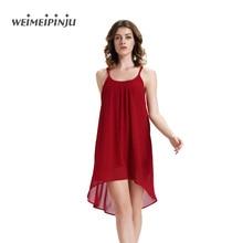 2017 New Arrivals Sexy Backless Club Dresses New Arrival Spaghetti Strap Asymmetrical Party Dress Clubwear Red Chiffon Vestidos