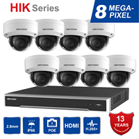 Hik оригинальная система видеонаблюдения 8MP камера система 8 каналов PoE NVR и 8 шт.. ip камеры с питанием по PoE Купол Открытый HD видео комплект виде