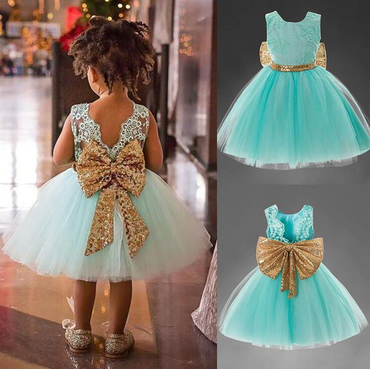 Sweet Bowknot A-line Flower Girl Dress Princess Party Sequined Wedding Dresses Summer Kids Clothes For Girls Roupas Infantis flower girl dresses for kids new girls summer full dress for party and wedding teenagers sundress fancy clothes princess costume