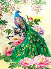 5D Diamond Embroiderey Cross Stitch DIY Painting Animal Peacock Rhinestone Home Decoration Wedding Gift