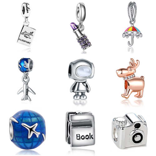 Sliver Plated Bead Charms Travel The World Holiday Robot Charm Fit Original Pandora Bracelet Necklace DIY Women Jewelry Making
