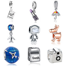 New Free Shipping Women Charm Bead Travel Holiday Robot Charm Fit Original Pandora Beads Bracelet DIY Women Jewelry Making(China)