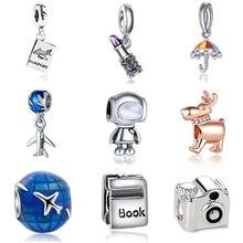 fbbc38fd4 Chapado en plata encantos del grano de el mundo de vacaciones Robot encanto  Fit Original collar de la pulsera de Pandora DIY joy.