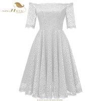 SISHION White Lace Dress Elegant Half Sleeve Slash Neck Royal Blue Wine Red Retro Sweet Sexy Summer Beach Party Dresses VD0713