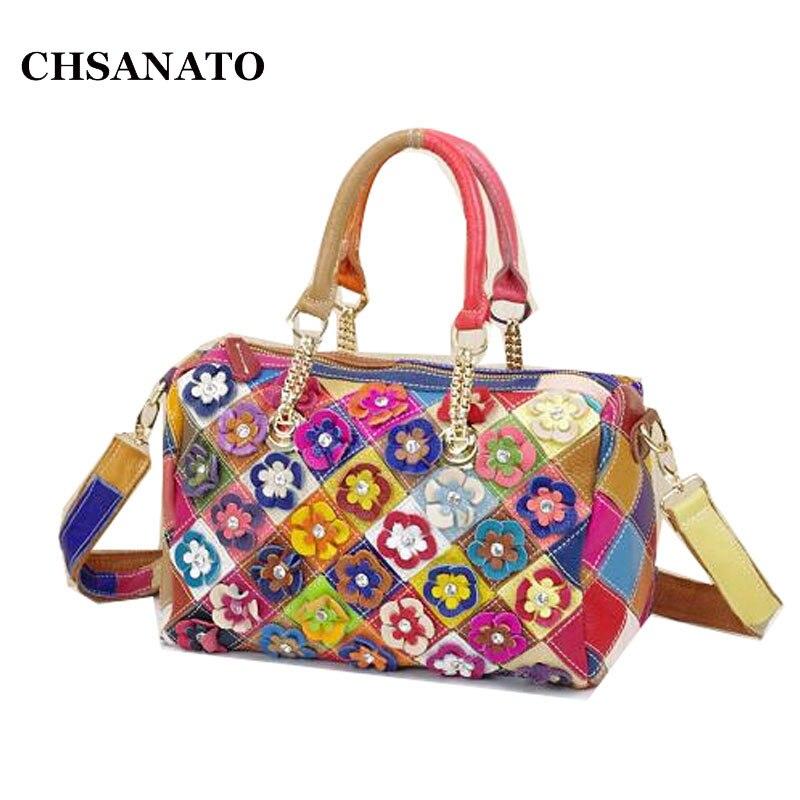 CHSANATO Fashion Genuine Leather Bag Women s Shoulder Bag Cowhide Flower Handbag Women Messenger Bags