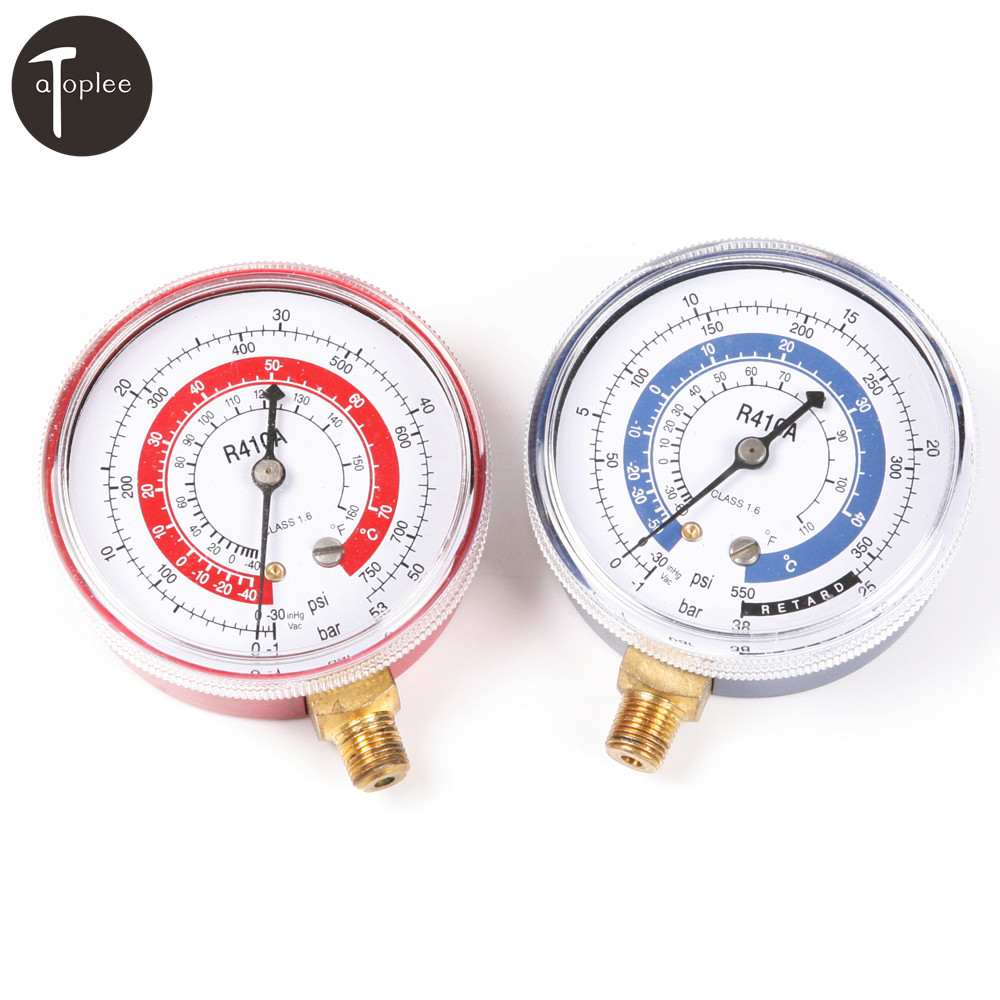 2PCS/set R410A R134A R22 Car Air Conditioner Refrigerant High&Low Pressure Gauge PSI KPA Refrigeration Pressure Gauge r22 r410 r407c r404a r134a air conditioner refrigeration single manifold vacuum gauge pressure gauge