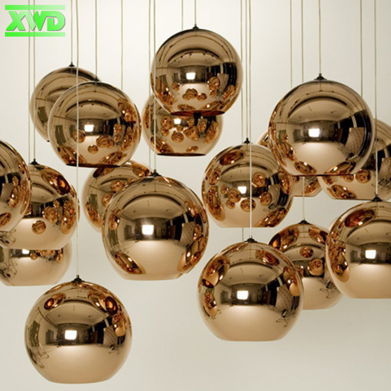 Modern Glass Plating Ball Copper Silver Dinning Hall Pendant Lamp,Dinning Room PendanLamps For Coffee House/Bar/Club Decoration copper bathroom shelf basket soap dish copper storage holder silver