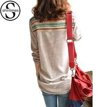 Geometric Loose Winter Tops Long Sleeve Blouse Plus Size Shirt Women 4XL