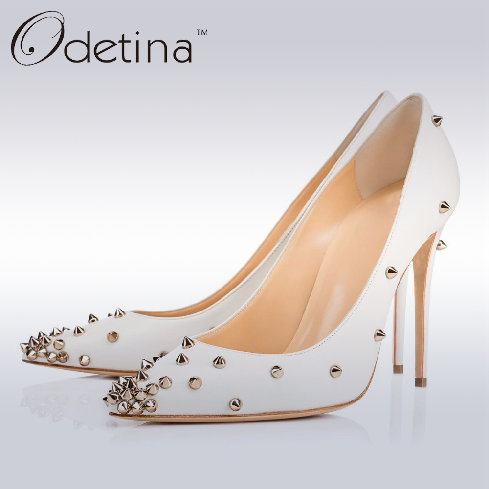 Odetina 2017 New Brand Women Rivets High Heels Stiletto Pumps Sexy Pointed Toe Thin Heels White Wedding Shoes Pumps Super High odetina fashion women pointed toe rivets loafers 2017 spring