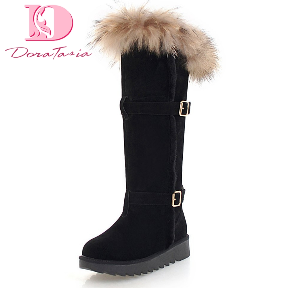 Doratasia New Large Size 34-45 Low Heels Shoes Woman Hot Sale Add Fur warm plush Winter Boots Woman Shoes women snow Boots doratasia new hot sale large size 34 43 brand shoes woman fashion platform high heels casual sandals woman shoes girls footwear