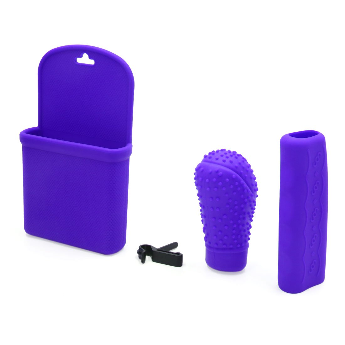Uxcell 3 In 1 Purple Silicone Gear Shift Knob Hand Brake Cover Storage Box For Car