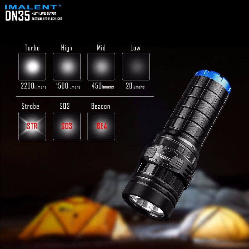 IMALENT DN35 USB Rechargeable CREE XHP35 HI LED LED Tactical Flashlight With Multi level Outputs And An OLED Display Maximum lum - 2