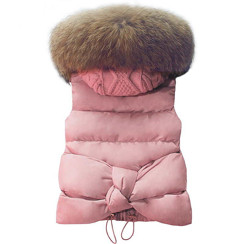 2017 New Fashion Autumn Winter Women Vests Coats Large Fur Collar Short Female Vests Slim Thick Outwear Hooded Down Jackets new winter coats women jackets large faux fur collar thick plus velvet ladies parka hooded jacket outwear s1083