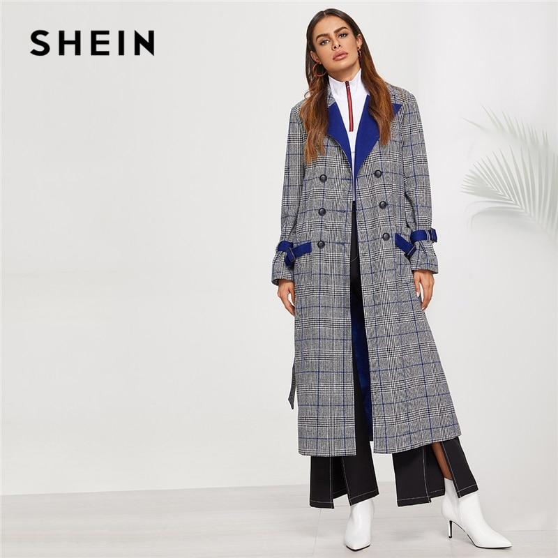 Шеин серый Нотч Воротник двубортный плед удлиненный пальто элегантный карманом в стиле милитари лук Тренч Для женщин верхняя одежда на осе...