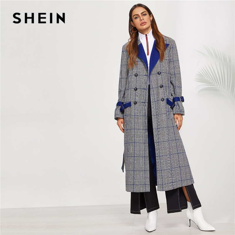 SHEIN Cinza Notch Collar Double Breasted Plaid Bolso Longline Casaco Militar Elegante Arco Trench Coat Outerwear Mulheres Outono