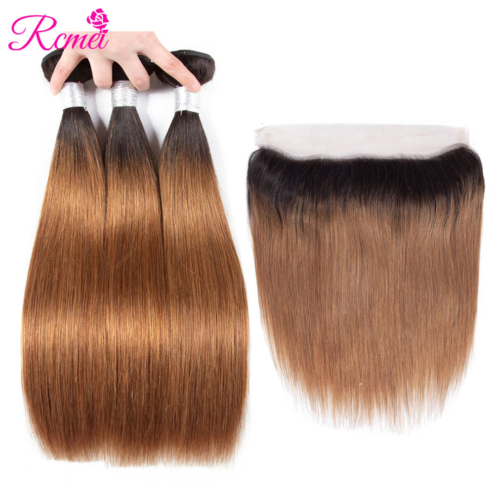 Rcmei Ombre T1B/30 Bundles With Frontal Closure Brazilian Straight Hair Brown Color 3 Bundles With Frontal Dark Roots Hair Weave-in 3/4 Bundles with Closure from Hair Extensions & Wigs    1