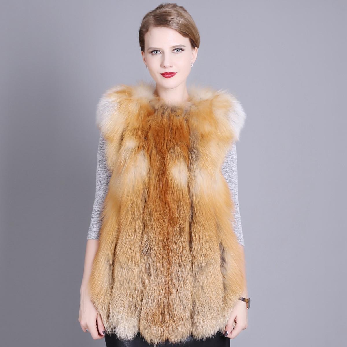 2018 Nieuwe Vrouwen Skin Real Red Fox Bont Vest Losse Jas Meisjes Fonds Zelfontplooiing Echt Lederen Vest Jas Vn01
