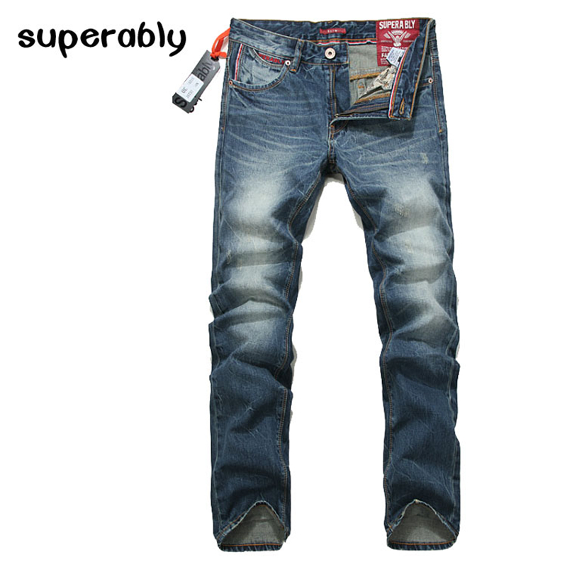 2017 Slim Fit Jeans Men New Famous Brand Superably Jeans Ripped Denim Trousers High Quality Mens Jeans With Logo UE237 2016 italy famous men s jeans new brand men slim fit jeans trousers wear white ripped skinny ripped denim jeans for men
