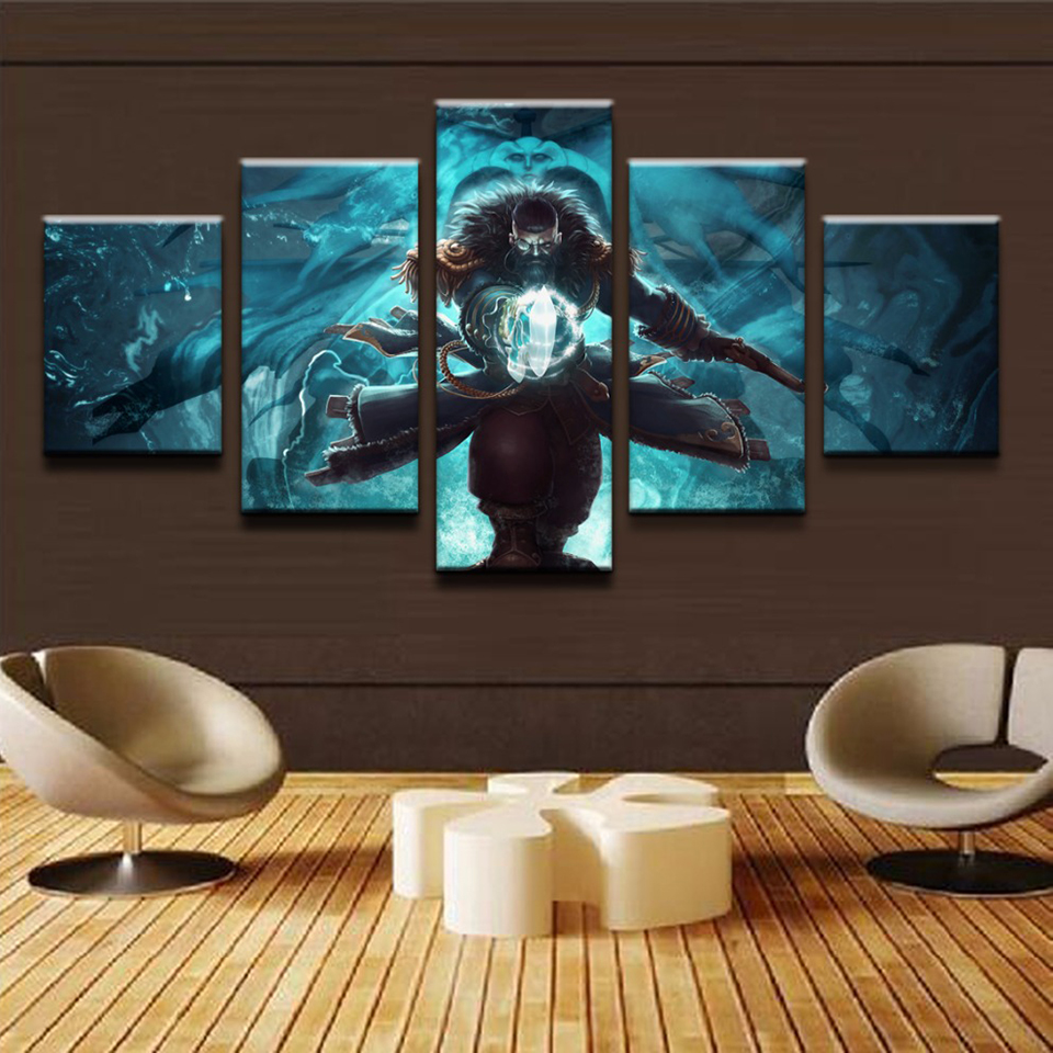 Home Decoration Modern Canvas Living Room HD Printed 5 Panel Game Character Pictures Painting Wall Art Modular Poster Frame