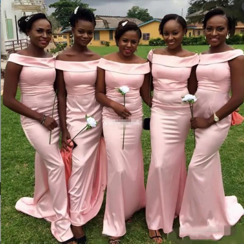 2018 Sexy Boat Neck Mermaid   Bridesmaid     Dresses   Glamorous Pink Satin Simple African Bridal Prom   Dress   Party Gowns Custom Made