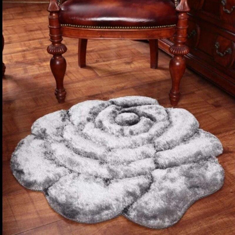 Tapis de maison de luxe de haute qualité 3D motif Rose rouge tapis de décoration de mariage pour salon chambre tapis épaissir tapis de salon - 3