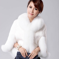 New Winter Womens Real Fox Fur Hooy Collar Long Trench Coat Fur Jacket Wool Cloak Clothes Wholesale Color:Black White Size:S M L