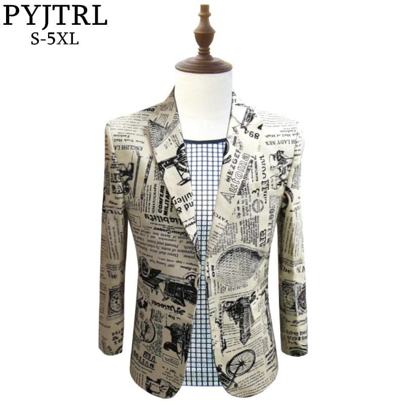 PYJTRL Retro Vintage Newspaper Print Casual Blazer Hombre Men DJ Singer Night Club Slim Fit Suit Jacket Prom Party Costume