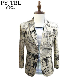 Image 1 - PYJTRL Retro Vintage Newspaper Print Casual Blazer Hombre Men DJ Singer Night Club Slim Fit Suit Jacket Prom Party Costume