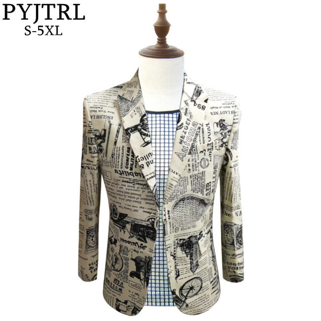 PYJTRL Retro Vintage Newspaper Print Casual Blazer Hombre Men DJ Singer Night Club Slim Fit Suit Jacket Prom Party Costume
