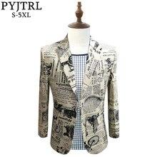 PYJTRL veste de journal rétro Vintage imprimé pour hommes, veste de chanteur DJ chanteuse, coupe cintrée, Costume de soirée de bal, jolie pochette