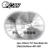 XCAN 2 uds 250mm 48T 60T hoja de sierra para madera multifunción TCT hoja de sierra Circular disco de corte de madera