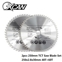 XCAN 2pcs 250mm 48T 60T Multifunction Wood Saw Blade TCT Circular Saw Blade Wood Cutting Disc